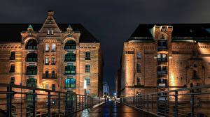 Фотография Германия Гамбург Мосты Дома Ночь Kehrwiederstegbrücke город