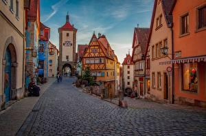 Картинка Германия Здания Улиц Бавария Rothenburg