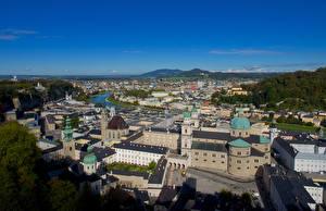 Фотография Германия Зальцбург Здания Сверху Города