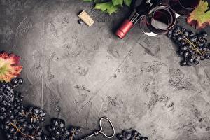 Фотография Виноград Вино Бутылка Бокалы Шаблон поздравительной открытки Пища