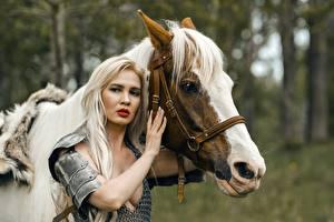 Фотографии Лошади Воители Две Блондинок Броне Взгляд Руки молодые женщины