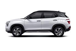 Обои Hyundai Белый Металлик Сбоку Кроссовер Белый фон Creta, MX-spec, (SU2), 2020 Автомобили картинки