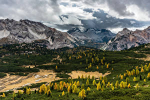 Фотография Италия Горы Осенние Пейзаж Альпы Облако Долина Sennes Природа