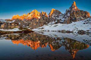 Обои Италия Горы Озеро Альп Отражение Dolomites, Baita Segantini Природа