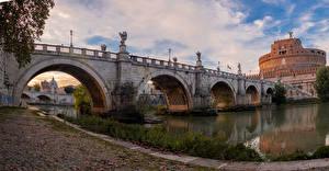 Картинки Италия Рим Замок Реки Мосты Скульптуры Castel Sant'Angelo Города