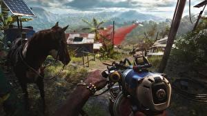 Обои Пулемет Лошади Far Cry 6 компьютерная игра
