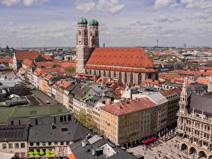 Картинки Мюнхен Дома Германия Собор Бавария Крыше Frauenkirche Города
