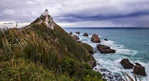Обои Новая Зеландия Побережье Маяк Камень Nugget Point Природа