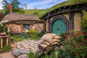 Картинки Новая Зеландия Здания Траве Hobbiton Природа