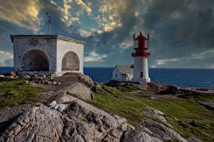 Картинки Норвегия Побережье Маяки Облака Vest-Agder Природа