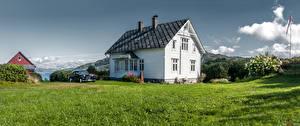 Обои для рабочего стола Норвегия Здания Траве Reksteren Природа
