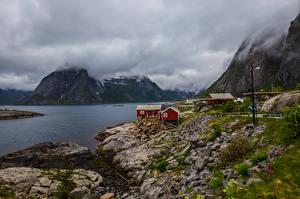 Фотография Норвегия Лофотенские острова Горы Облачно