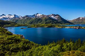 Картинка Норвегия Горы Лофотенские острова Пейзаж Природа