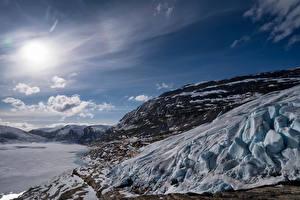 Фотография Норвегия Горы Небо Скала Снег Солнца Austerdalsisen Glacier