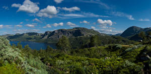 Картинки Норвегия Горы Небо Облако Suldal