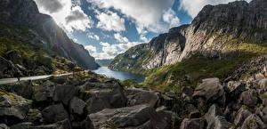 Картинки Норвегия Гора Камни Скала Облачно Bjerkreim