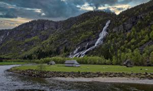 Фото Норвегия Горы Водопады Речка Скале Hildal Природа