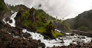 Фотографии Норвегия Гора Водопады Камень Речка Скалы Hordaland Природа