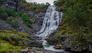 Фото Норвегия Водопады Утес Eikedalen Природа