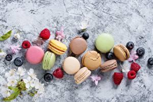 Картинки Малина Ягоды Печенье Макарон Еда