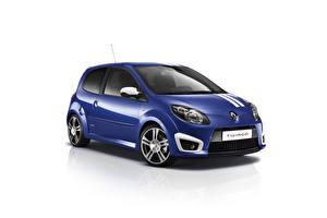 Картинка Renault Синяя Металлик Белый фон Twingo Gordini R.S., 2009–12 авто