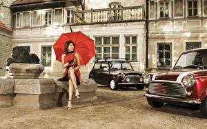 Картинки Ретро Сидящие Зонтом Девушки