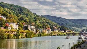 Обои Реки Речные суда Мост Германия Холмов Heidelberg, Neckar River, Baden-Württemberg город