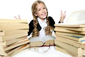 Обои Школа Пальцы Девочка Книги Радость Очков Дети