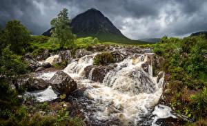 Обои Шотландия Горы Реки Камни Glen Etive Природа