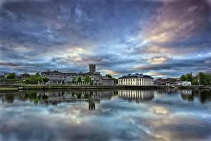 Обои Небо Ирландия Речка Здания Limerick Города
