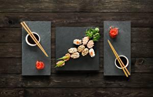 Обои для рабочего стола Суши Имбирь Палочки для еды Соевый соус Пища