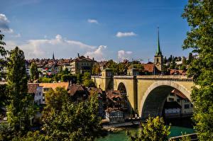 Картинка Швейцария Берн Здания Мост Реки город