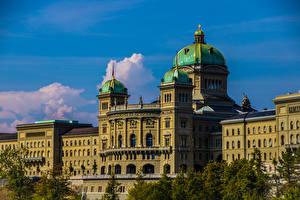 Картинки Швейцария Берн Дома Дворца Federal Palace Города