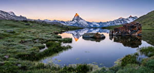 Картинки Швейцария Гора Озеро Пейзаж Альп Stellisee Природа