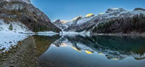 Картинка Швейцария Гора Озеро Альп Снег Seealpsee Природа