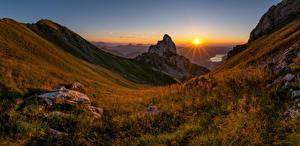 Фотография Швейцария Горы Пейзаж Вечер Рассветы и закаты Панорама Альпы Canton Schwyz Природа
