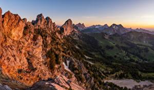Фотографии Швейцария Гора Пейзаж Альп Скале Fribourg Природа