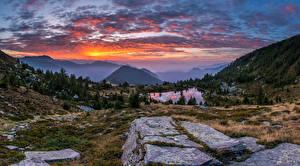 Фотографии Швейцария Гора Пейзаж Рассвет и закат Озеро Альпы Ticino Природа