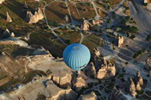 Картинки Турция Скале Аэростат Сверху Cappadocia Природа