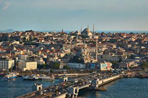 Фотографии Турция Стамбул Мечеть Здания Мост город