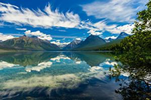 Обои США Парк Озеро Гора Небо Облако Отражении Lake McDonald, Glacier National Park Природа