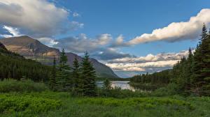Фотография Штаты Парк Горы Облако Glacier National Park Природа