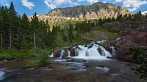 Фото США Парк Горы Водопады Скале Дерева Glacier National Park Природа