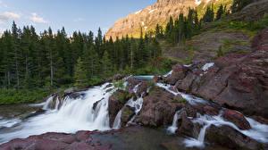 Фотографии Штаты Парки Камень Водопады Скала Дерево Glacier National Park Природа