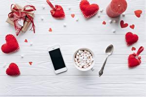 Фотографии День всех влюблённых Серце Маршмэллоу Сматфоном Пища