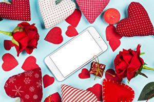 Картинка День всех влюблённых Сердце Смартфон Шаблон поздравительной открытки Цветы