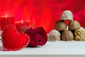 Картинка День всех влюблённых Розы Серце цветок
