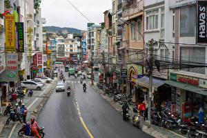 Обои Вьетнам Дома Дороги Улиц Мотоциклист Dalat Города