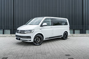 Обои Volkswagen Минивэн Белых 2018-20 ABT Multivan авто