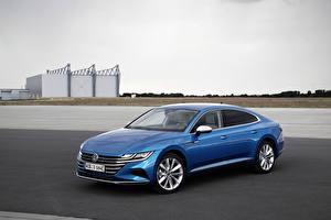Картинки Фольксваген Голубых Гибридный автомобиль 2020 Arteon eHYBRID Elegance Worldwide Автомобили